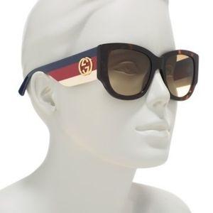 Gucci 53mm square Sunglasses Havana brown